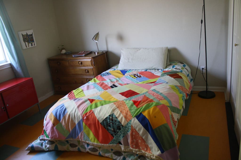 This is the guest room that you will be staying in.  Bright, clean and perfect for one person or a couple.  There is ample closet and dresser space and a private bathroom right next door.
