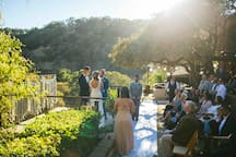 Perfect site for wedding ceremony, big deck just off bocce court