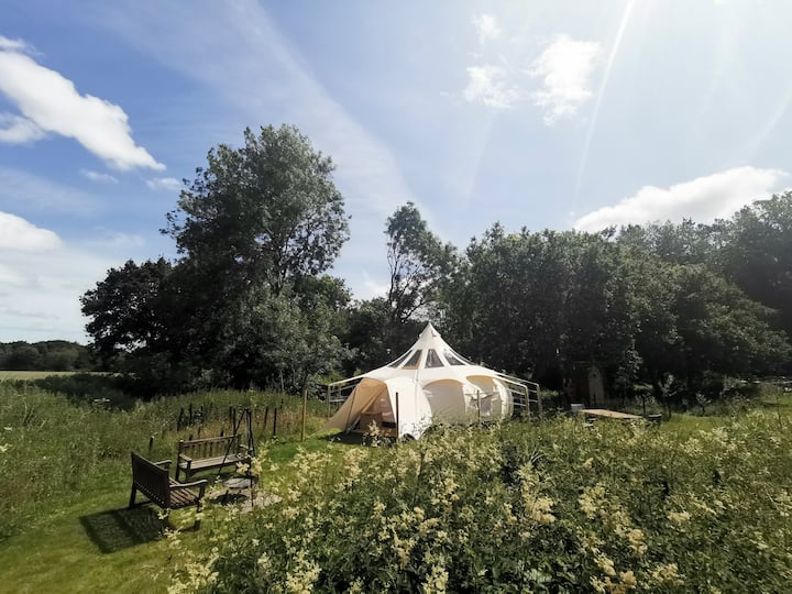 Luxury Stargazer tent at Moat Island Glamping