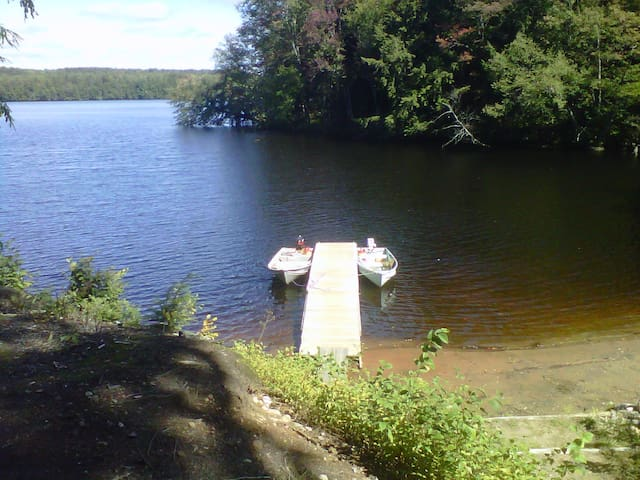 Lakefront Adirondack home with private beach.