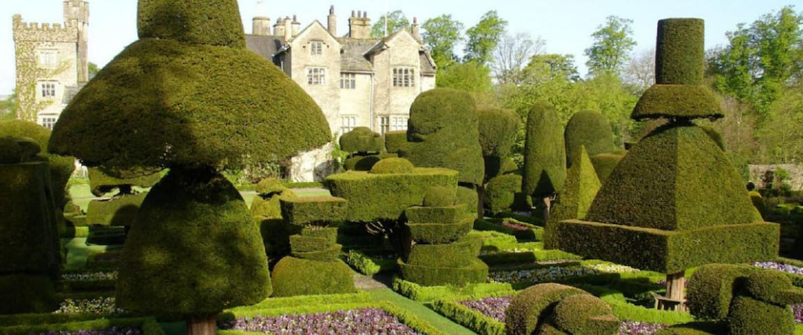 Topiary gardens at Levens Hall.