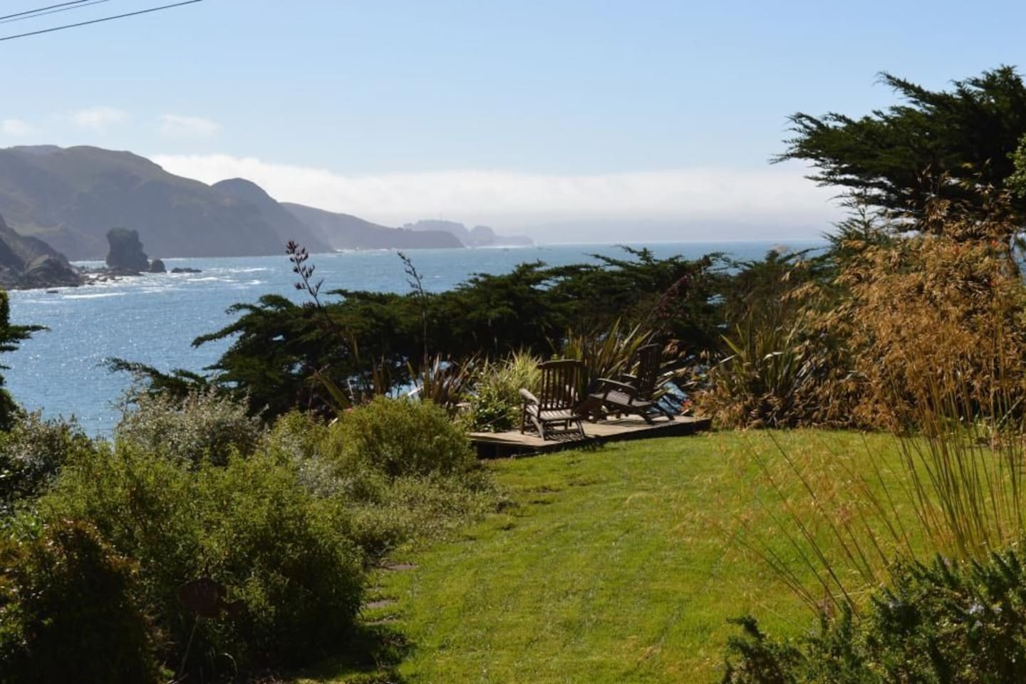 View of ocean from garden on property