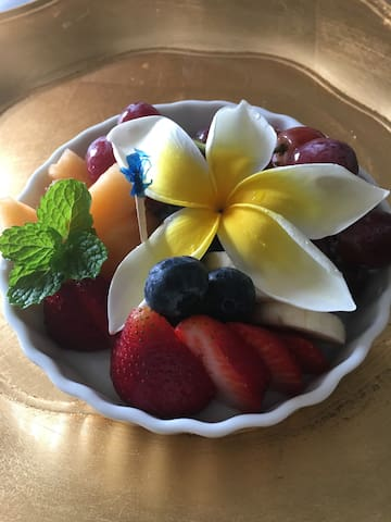 All Breakfast Selections Are Served With Fresh Fruit In Season.  Enjoy On Your Private Balcony Or Poolside.