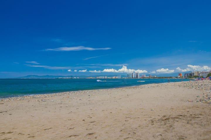 Beach a block away!