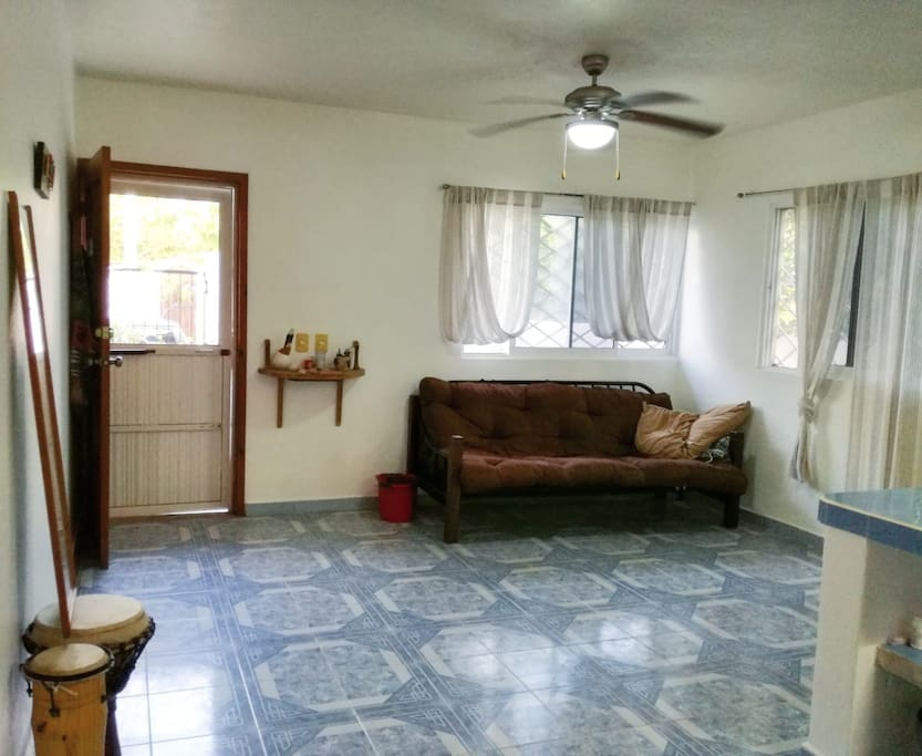 Shared living room/kitchen area. Futon for extra guests?
