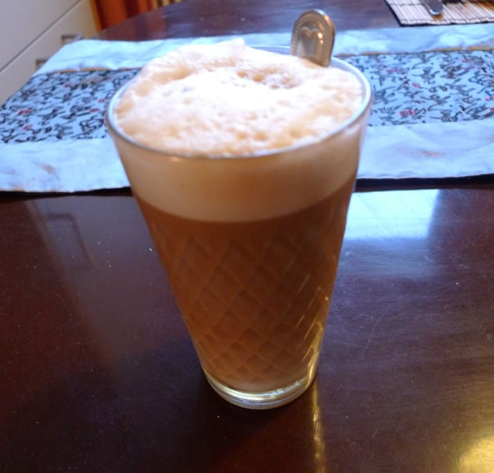 Cappuccino in typical Frankfurt Cider glass