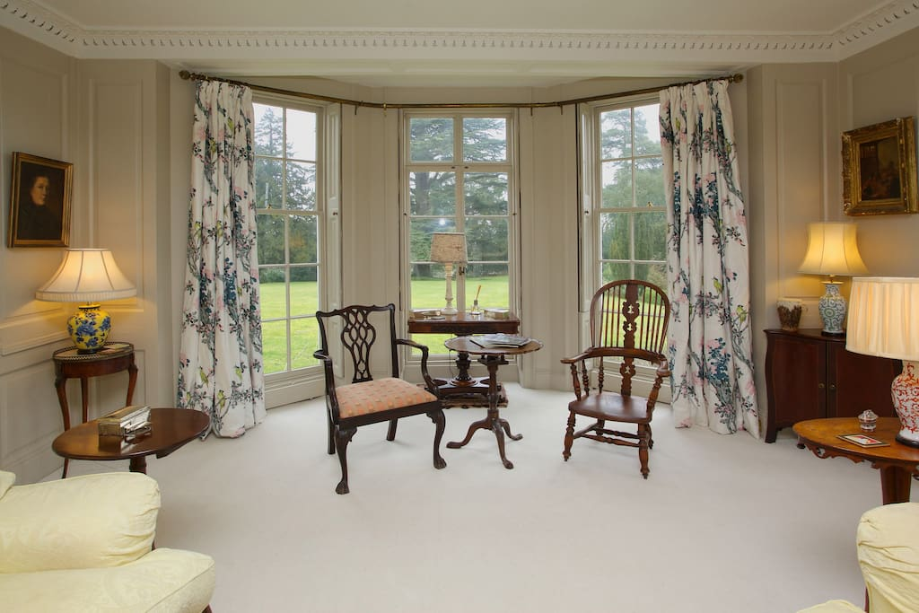 Bow window in guest drawing room