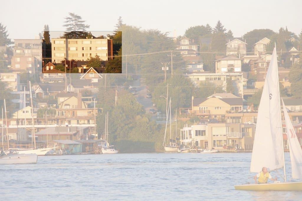 View of our Condo via boat