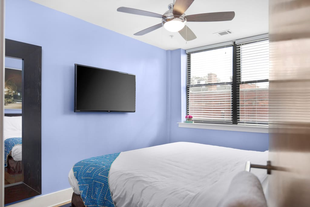 The bedrooms are light and airy with modern amenities.