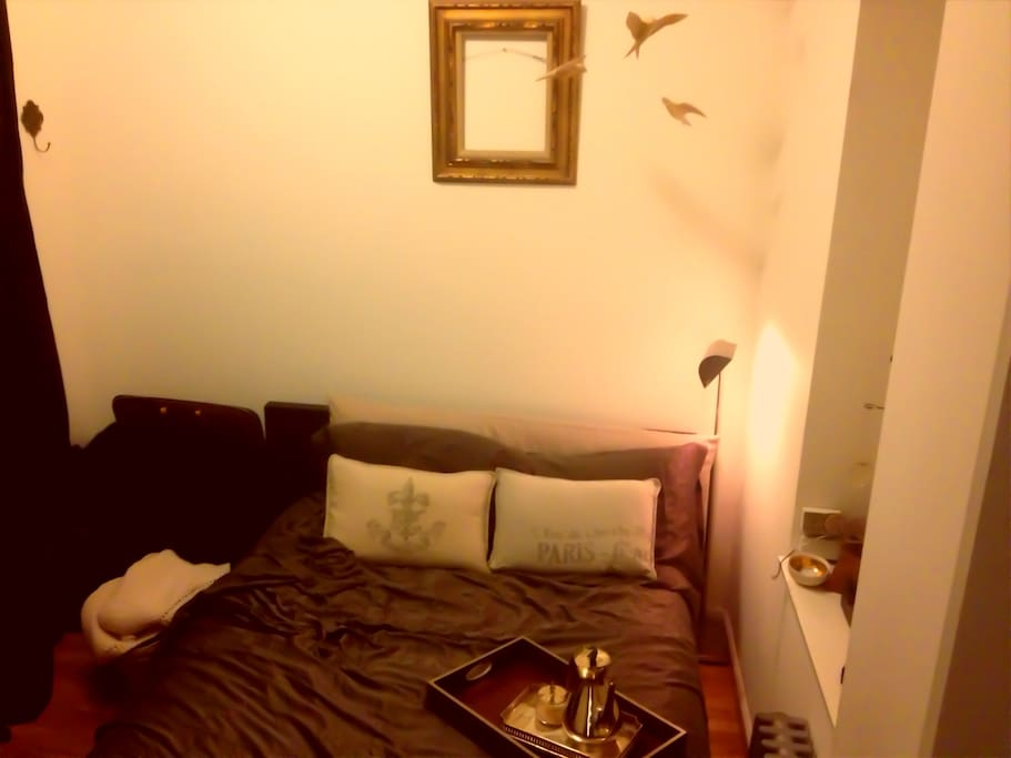 Very comfortable queen size bedroom with ample closet space to store your clothing.