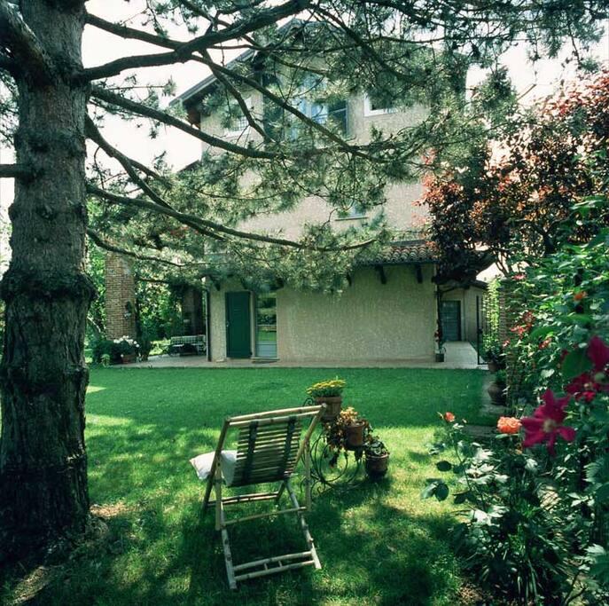 la casa vista da sotto i pini