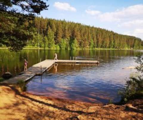 Mysig stuga på 1 km från sjön Tången med badplats
