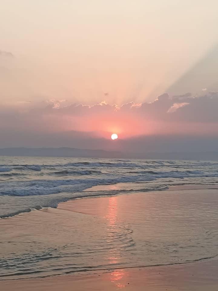 Deniz kenarında doğada , huzurlu, sakin yazlık