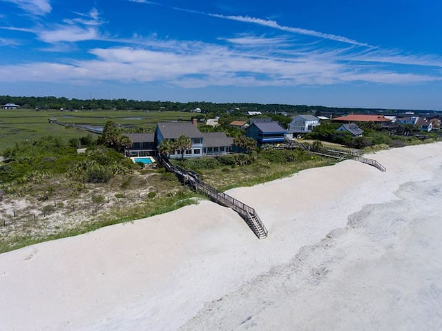 Sprawling Pawleys Island Oceanfront Estate with Private Pool, Hot Tub, Dock on the creek plus Chef's Kitchen