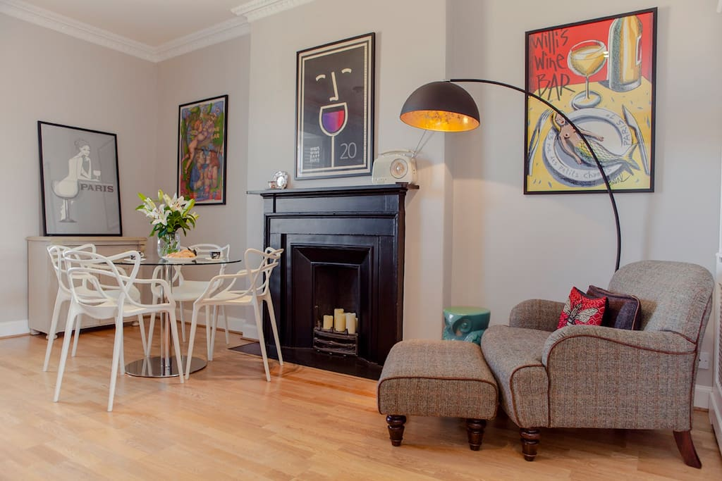 The gorgeous seating area and dining table is part of the open plan kitchen