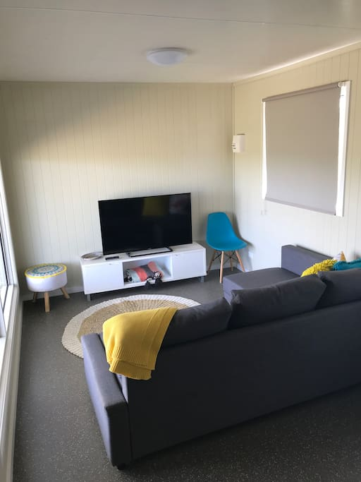 Lounge room. This lounge converts to a double bed and also has a split air conditioning / heating system installed