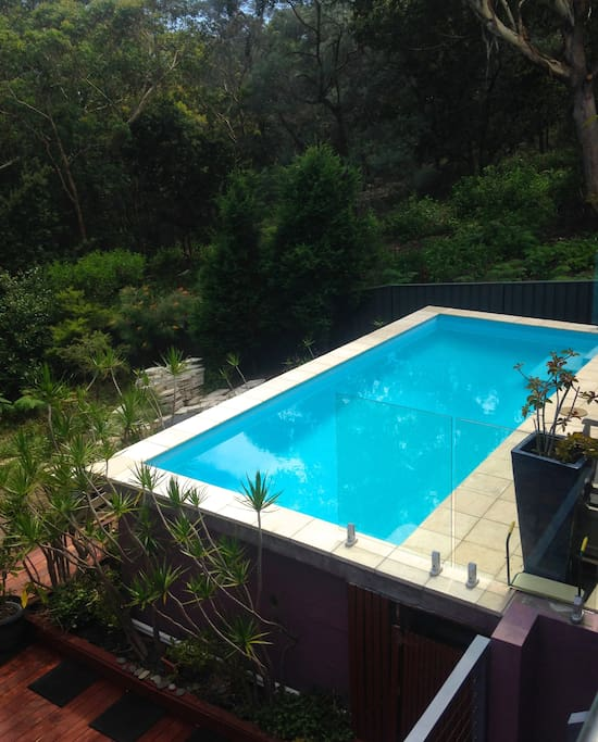 Your own heated pool looks onto bushland.
