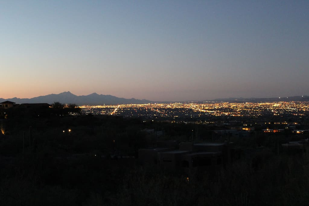 View south over Tucson toward the Santa Rita mountains and into Mexico