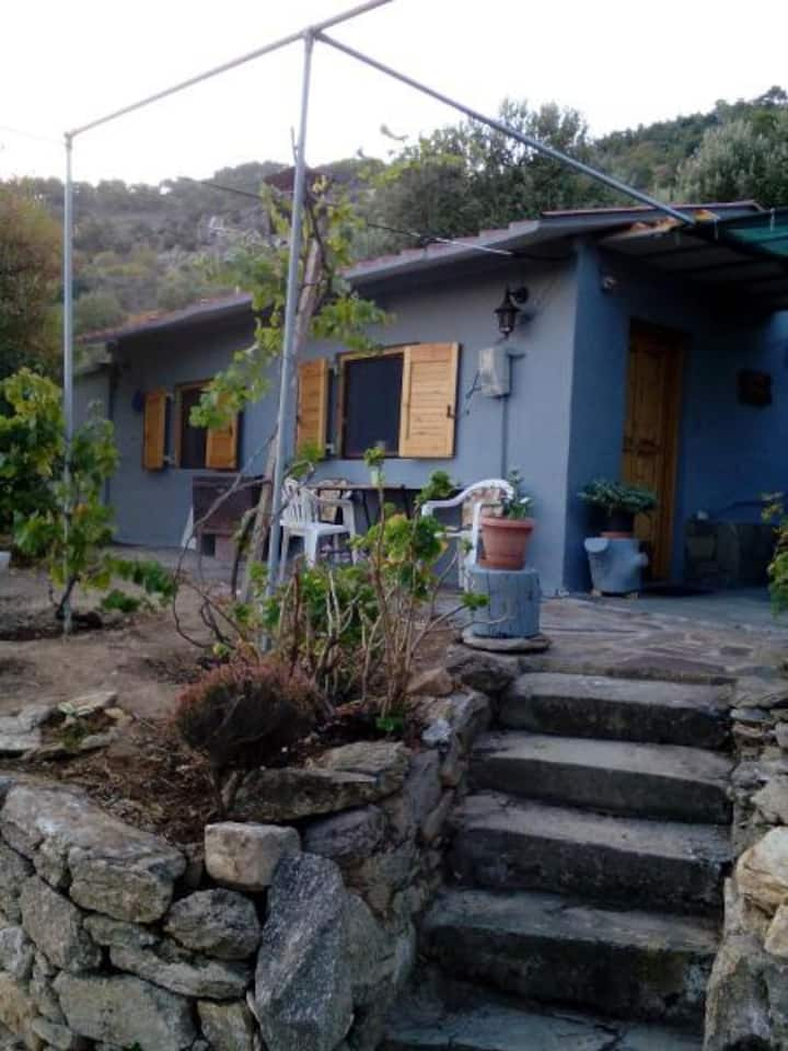 Myrovolos detached cottage with sea view & garden