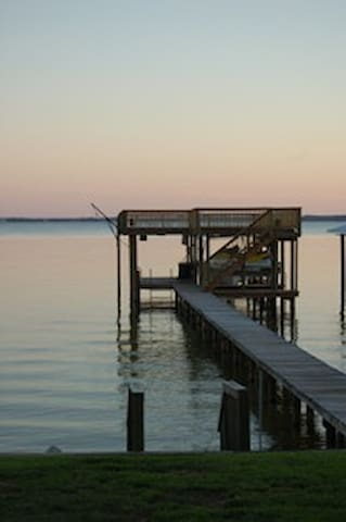 2-story dock at sunset.