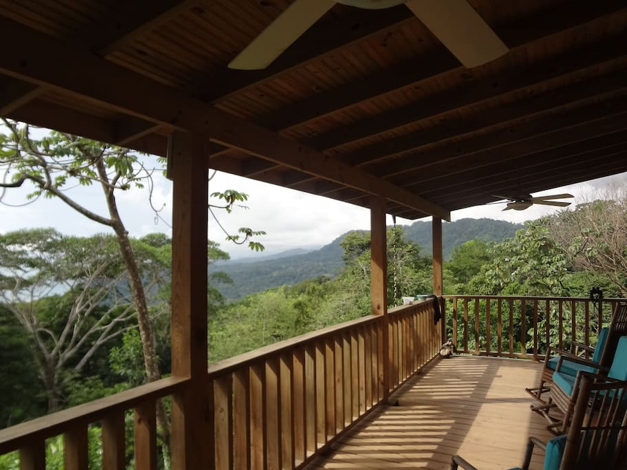 The large covered deck overlooks the pacific ocean and jungle canopy. A great place to relax and view the unique wildlife.