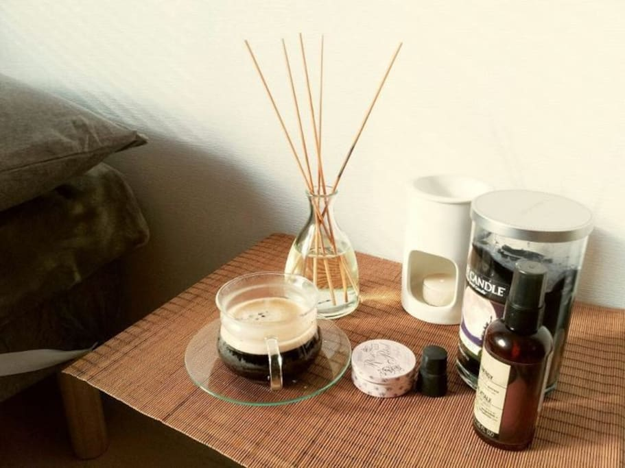 Bed table. aroma candles, pillow mist will help you to have a sound sleep