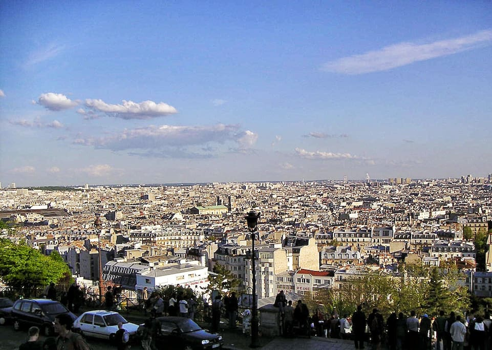 view of paris from parvi of Sacre coeur (5 minutes walking)