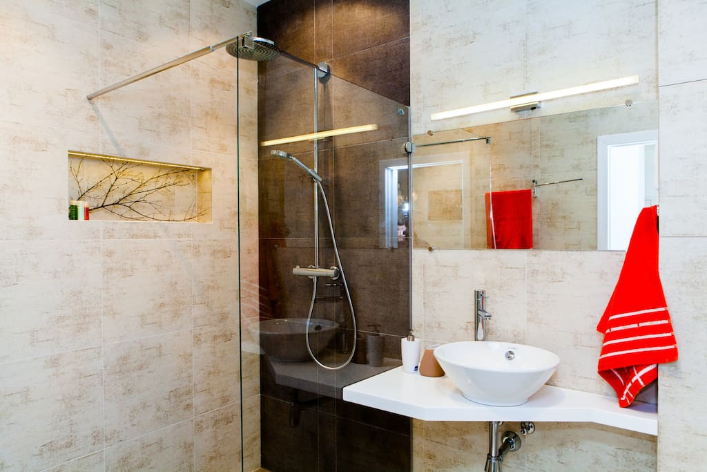 Spacious walk-in shower with big Raindance-showerhead - the apartment's spa area