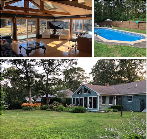 Homey, open, spacious fenced yard, inground pool.