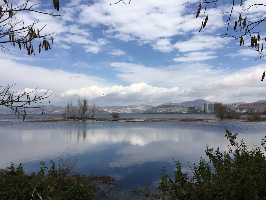 Amazing Erhai lake view in the winter within 3 mins walk!! 楼下观海,望向海东。