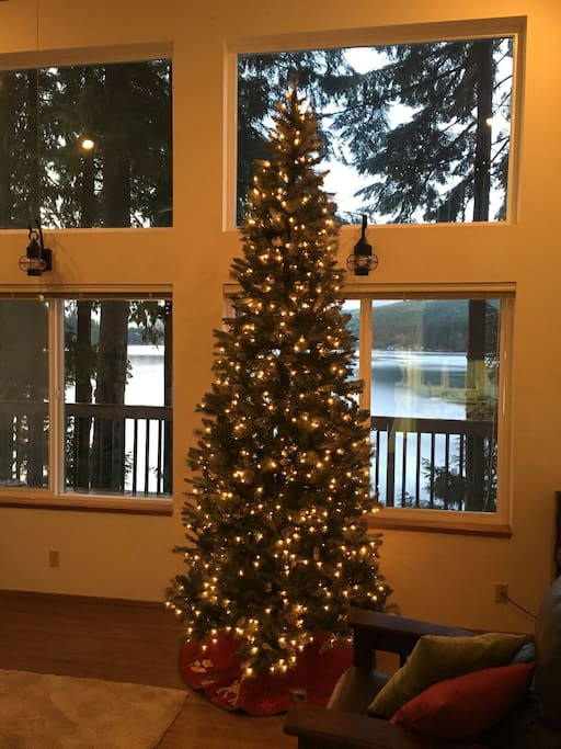 It's Christmas at the cabin! Both bedrooms have little Christmas trees too.