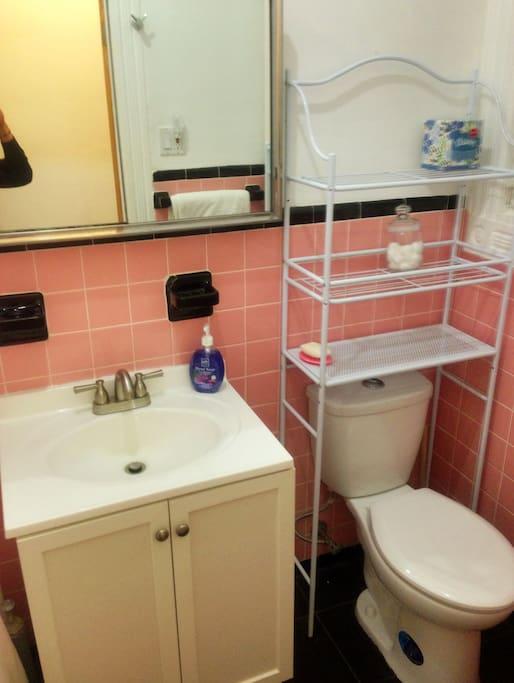 Bathroom: New Remodel with Black Marble Tiled Floor
