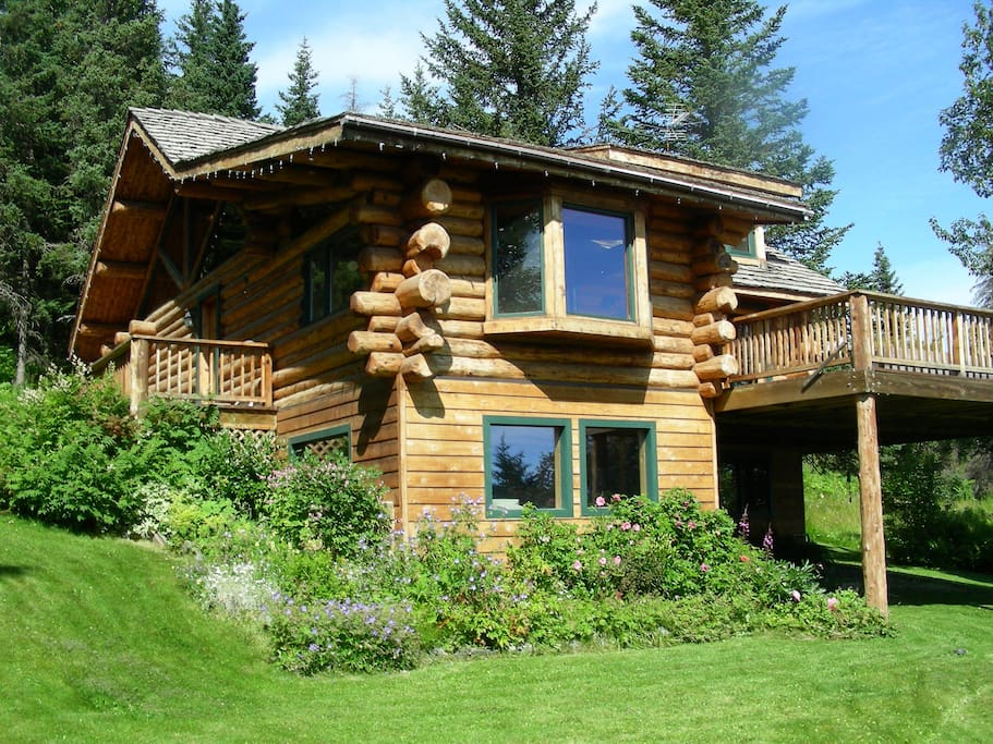 Our custom built log home (guest suite is on the downstairs, lowest level)