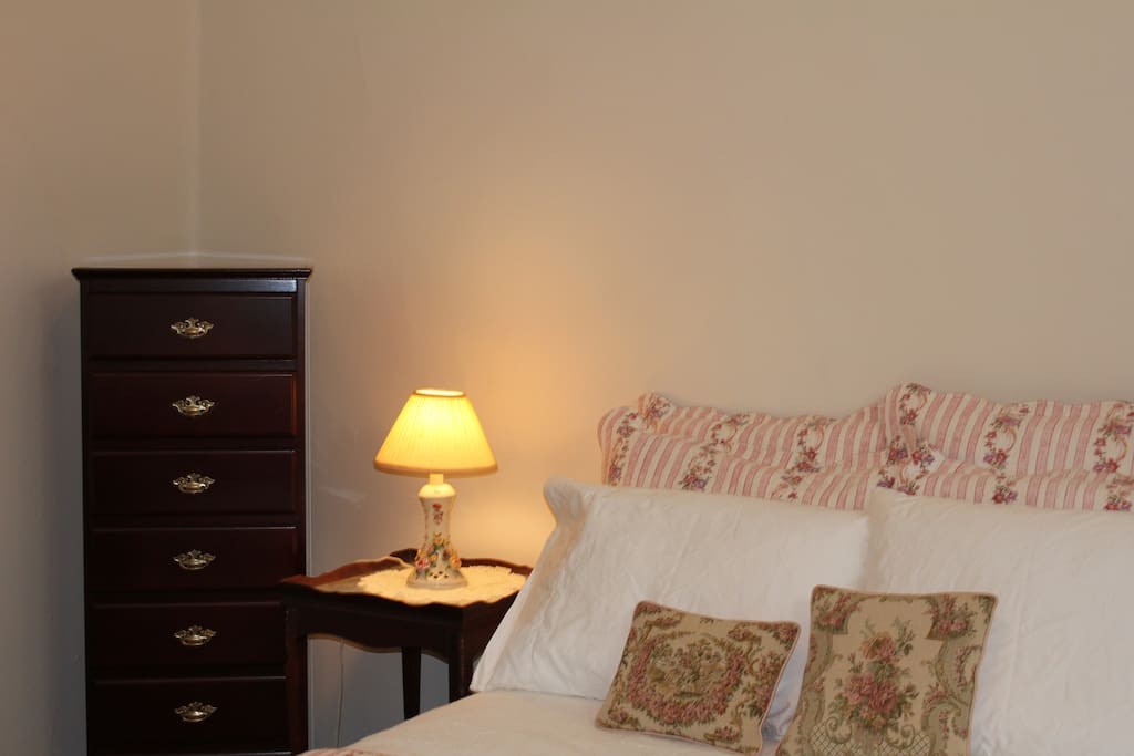 Here is a picture of the bedroom; it has a full size bed and is quite spacious.
