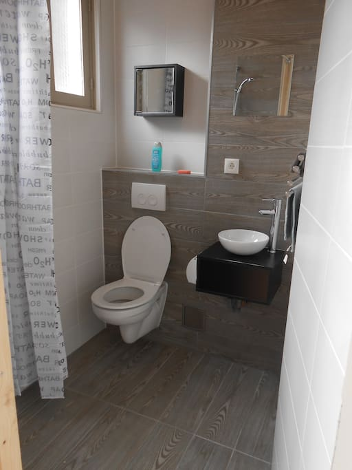 Bathroom with douche and toilet.