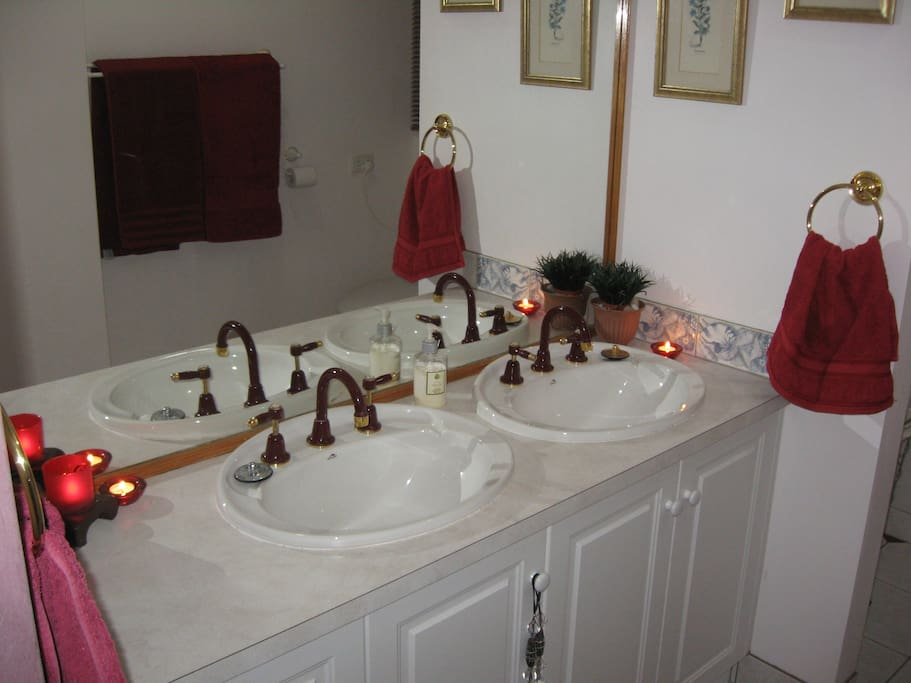His & Hers basins in the ensuite.