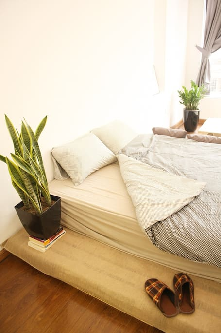 A comfy bed to rest in during your stay