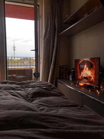 Cozy studio Schwabing with a view