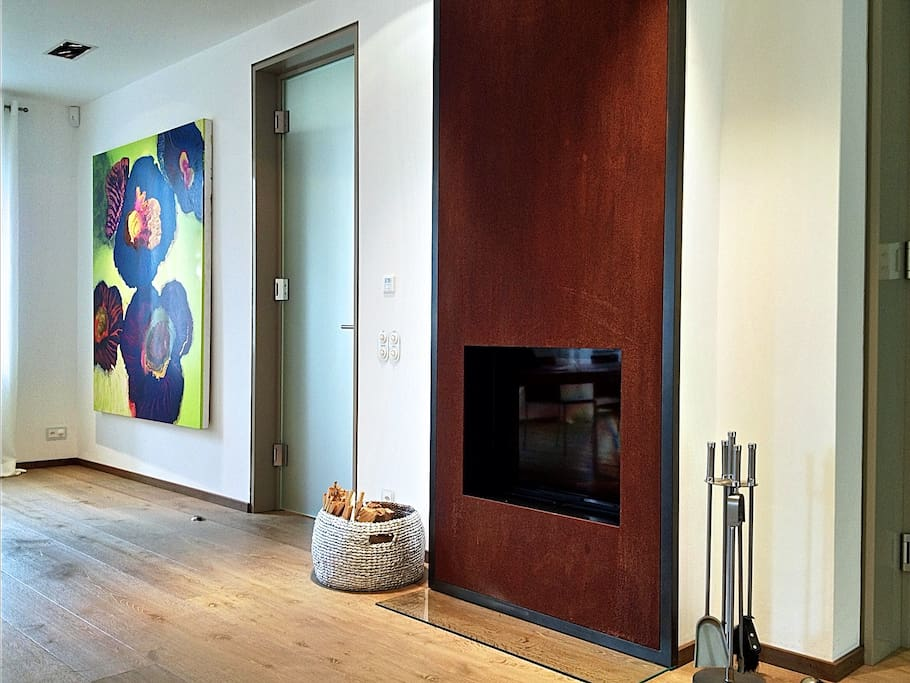 Modern fireplace in the great room