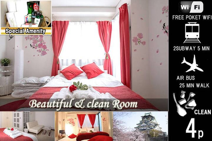 4POK★3Line4min★OsakaCastle&Namba&Dotonbori★wif★403 - Ōsaka-shi - Apartment