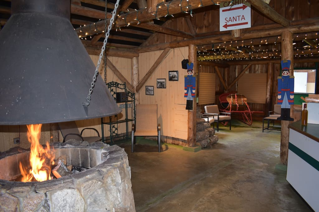 The cabin offers a cozy warm setting for a chilly spring or fall evening or a summer rain shower.