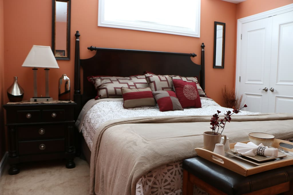 """King Size Bed w/36"""" TV in room"""
