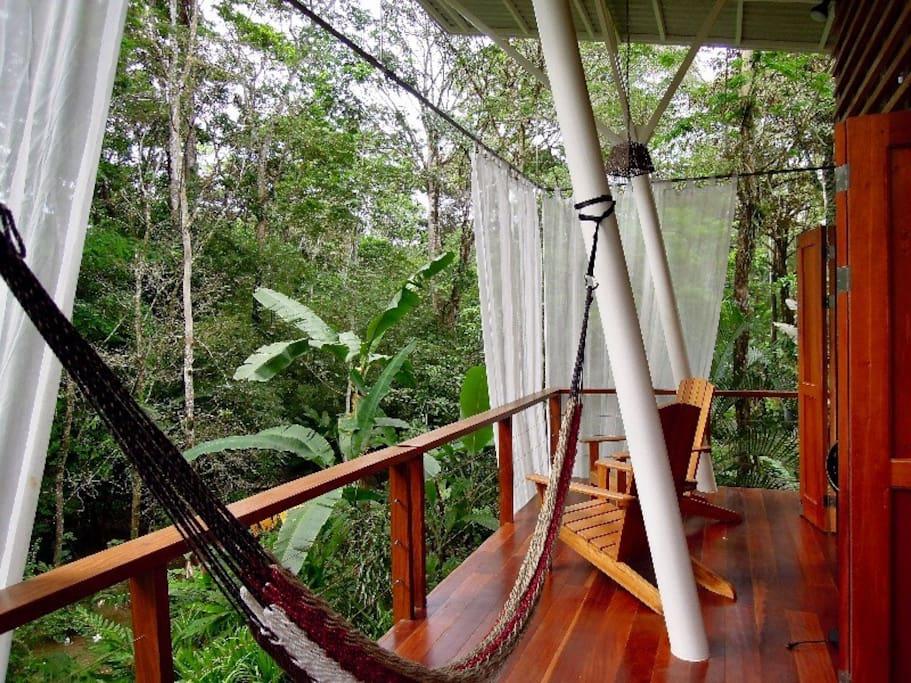 Upstairs Veranda with jungle views.