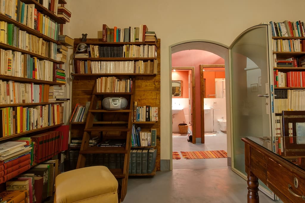 A selection of books in the entry all bookcase