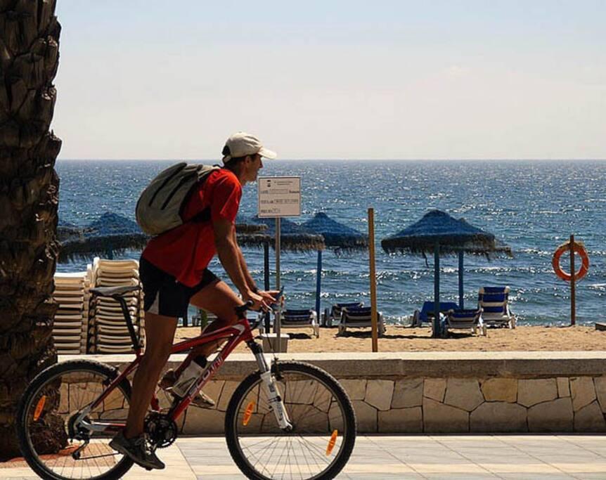 San Pedro beach & promenade, 200 mtrs, (bikes available for hire).
