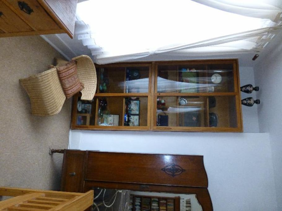Old Curios in the cabinets and antique and retro furniture
