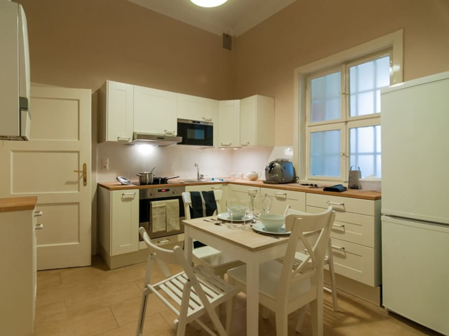 Fully equipped kitchen including full size oven, microwave, Espresso maker (takes beans), dishwasher etc