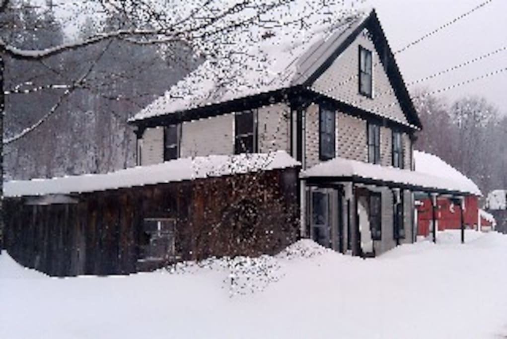 another view of our home, woodshed, barn