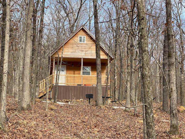 Grandpa's Cozy Cabin nestled in the woods