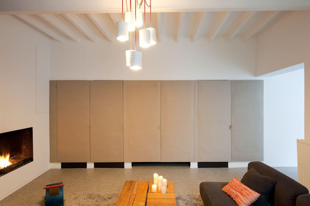 leefruimte met open haard +++ salon +++ living room wit fireplace